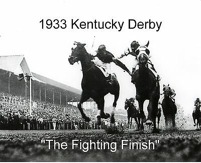 """1933 - Kentucky Derby """"Fighting Finish"""" Ground Level View"""