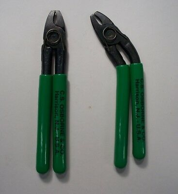 Hog Ring Pliers 2 Prof Side Angle & Straight Made In Usa C.s. Osborne From 1826