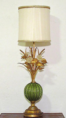 Mid Century VENETIAN MURANO Green Glass Lamp w/ Flowers Gilt Tole Stems - Italy