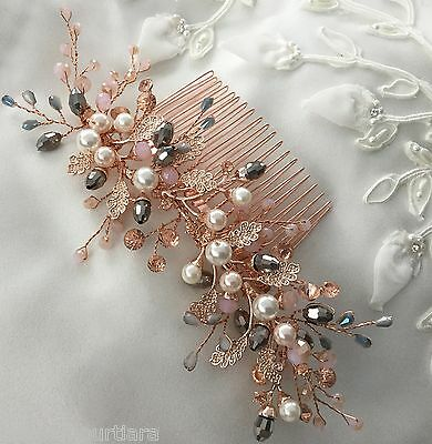 Bridal hair comb,Vintage inspired,Rose gold,pink silver grey,crystal headpiece