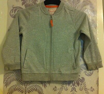 Girls Silver Sparkly Zip Up Jacket In Age 5-6 Years Old