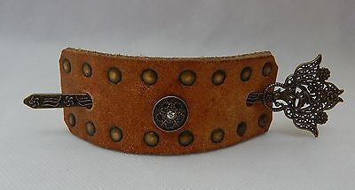 Brown Leather Studded Hair Barrette w/ Hair Stick Accessories New Gold Fashion