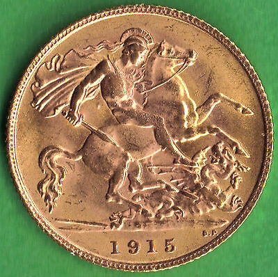GB - UK 1915 .916 Gold Half Sovereign George V Uncirculated