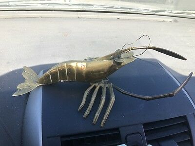 "Vintage Brass Shrimp Crawfish Crayfish Lobster 11"" Long Figurine"