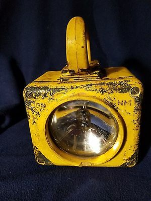 Vintage Working  United States Navy Yellow Portable Emergency Spot Light