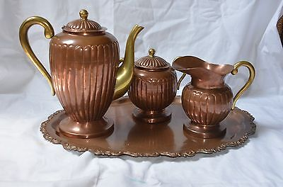 BEAUTIFUL  Collectible Copper & Brass  4 Piece Coffee/Tea Set With Tray