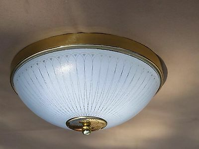 "Vintage Ceiling Mount Light Fixture Glass Shade Mid Century 14 3/4"" D"