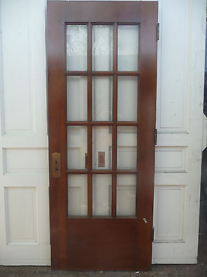 Antique Victorian French Entry Door -C. 1895 Twelve Pane Architectural Salvage