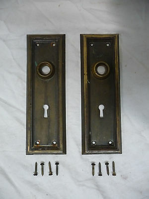 Antique Craftsman Style Brass Door Faceplate - C. 1912 Architectural Salvage