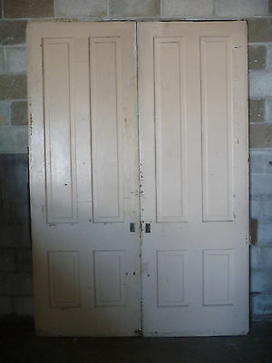Antique Victorian Four Panel Pocket Doors - C. 1890 Fir Architectural Salvage