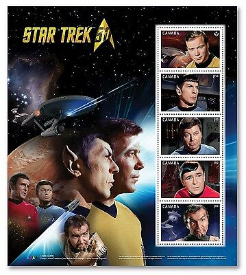 xca. STAR TREK 50th Anniv. FAMOUS CHARACTERS, MINISHEET of 5 sts MNH Canada 2016