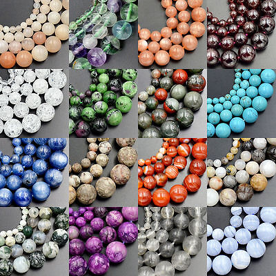 """Wholesale Lot Natural Stone Gemstone Round Loose Beads 15.5"""" 4mm 6mm 8mm 10mm"""