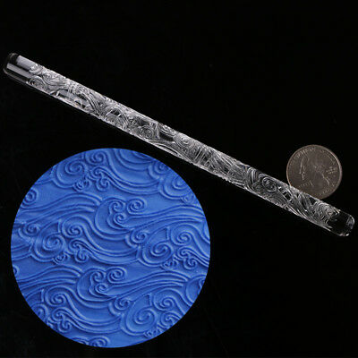 Sea Wave Textured Embossing Acrylic Rolling Pin Cake Decorating Fondant Tool