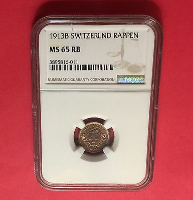 Switzerland- 1 Rappen ,ngc Ms-65 Red-Bn 1913 B ...rare Condition.