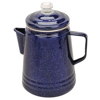 Coffee Pot Percolator 14-Cup Blue Enamelware Stove Tailgating Camping RV