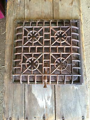 Antique Cast Iron Art Deco Heating Grate Register Vent Stove Air Ornate Vintage