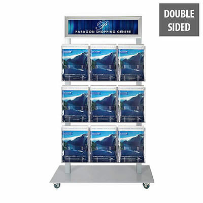 Brochure Stand Silver Double Sided - Header and 9 x A4 Holders