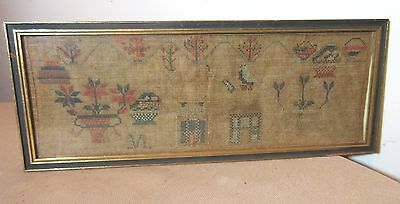 antique early 1800's hand embroidered made needlepoint sampler art 19th century