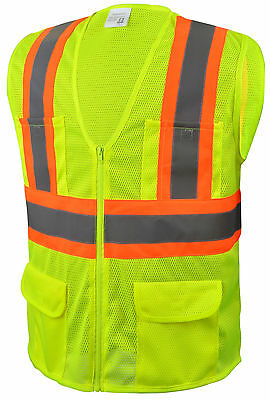 Class 2 Safety Vest Yellow 6 Pockets Mesh Reflective High-Vis Large