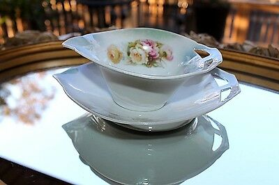 ANTIQUE P.S.A.A. Schonwald BAVARIA | HAND PAINTED Roses Gravy Boat w/Underplate