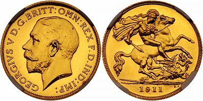1911 George V  Proof Half Sovereign; Pr-64 High Grade Example