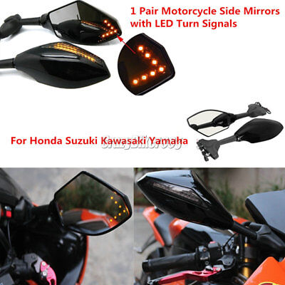LED Turn Signals Rearview Mirrors For Yamaha YZF R1 R6 R6S Ninja ZX 6R 7R 12R