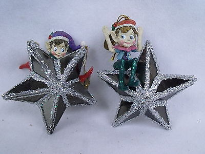KATHERINES COLLECTION Elves on Mirrored Stars Christmas Holiday Ornaments Set 2