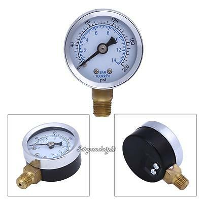 "1/8"" NPT 1.5"" Face Air Compressor Hydraulic Pressure Gauge 0-200 PSI Side Mount"