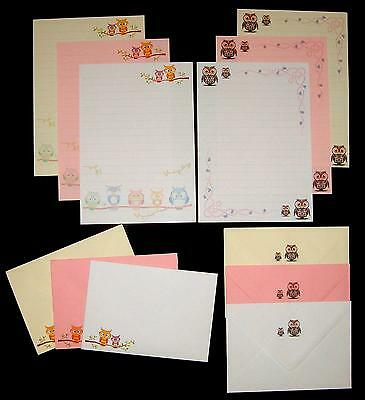 Colourful Cute Owls Letter Writing Stationery Set - pink, white and cream paper