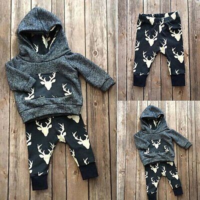 2 Pcs Autumn Kids Long Sleeve Sets Baby Deer T-shirt Hoodie Top+Pant Outfits  AU