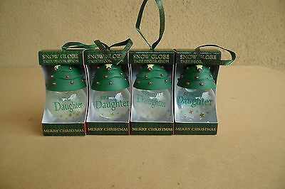 SPECIAL DAUGHTER CHRISTMAS TREE SNOW GLOBES BAUBLES x 4 EXCELLENT GIFT BRAND NEW