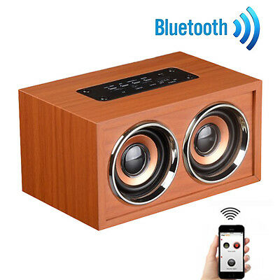 Dual Surround Super Bass Stereo Wooden Portable Wireless Bluetooth Speaker lot