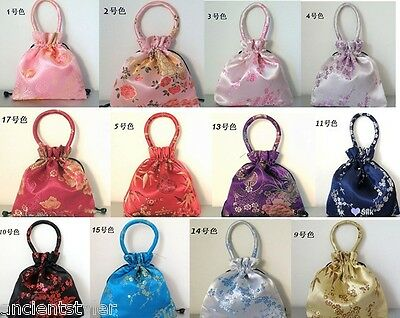 wholesale 12 pcs Silk satin GIFT bag wallet drawstring Jewelry coin pouch purse