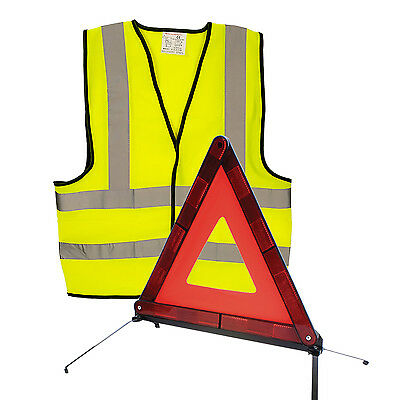 AA Car Warning Triangle Reflective Emergency Breakdown & High Visibility Vest