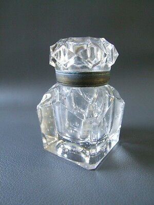 Antique or vintage glass inkwell with brass collar - desktop item