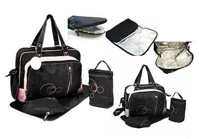 4pcs Baby Kingdom Thermo Thermal Nappy Changing Bags Bag Set BLACK