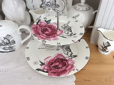 Alice in Wonderland Mad Hatter Tea Party China 2 Tier Cake Stand White Rabbit