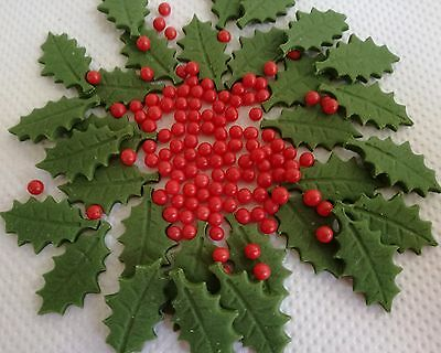 28 CHRISTMAS HOLLY AND BERRIES Edible cake decoration topper