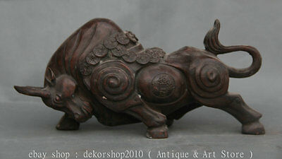 """12"""" Old China Bronze Fengshui Zodiac Animal Stronger Bull Oxen Ox Wealth Statue"""