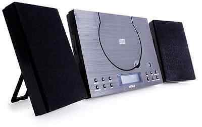 Denver MC-5010 CD Player - Wall Mountable, Black HiFi System With Radio, Aux In