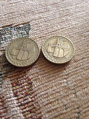 X2 £1 Coins With Bridges On