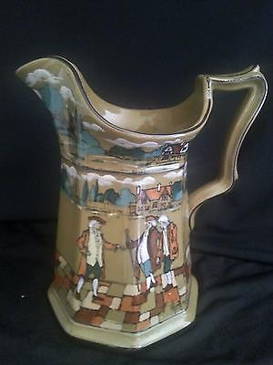 """Buffalo Pottery 7"""" Deldare Octagon Pitcher Signed 1909-Vicar of Wakefield  MINTY"""