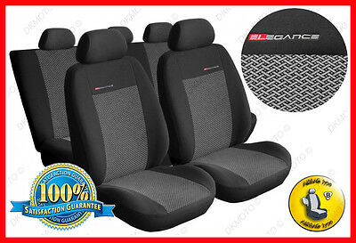 Universal CAR SEAT COVERS full set fits Ford Fiesta charcoal grey PATTERN 2