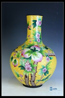 Orient Beautiful Chinese Big Cloisonné Enamel Peach Vase