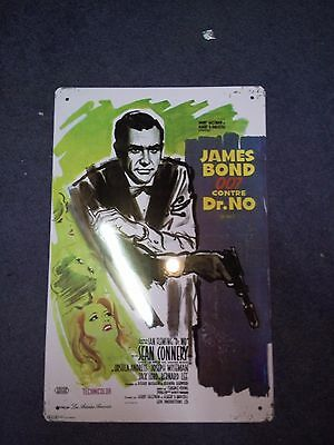 Plaque métal décorative du film James bond  contre DR NO 007 collector