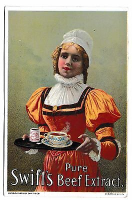 Swift's Beef Extract 1898 Victorian Trade Card Antique Advertising Woman