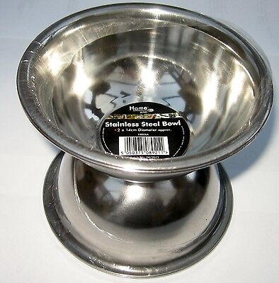 New Pack Of Two Stainless Steel Bowls 14 Cms Ideal For Baking, Cooking , Storage