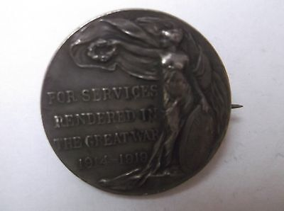 SOLID SILVER MEDAL 9.2 grammes FOR SERVICES RENDERED IN THE GREAT WAR
