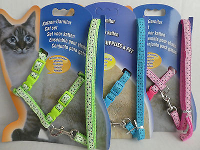 Cat Kitten Adjustable Harness & Lead Set Anchor Pattern, Blue, Pink, Red, Green