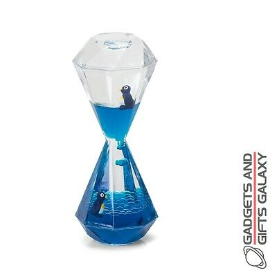 PENGUIN DESK TOY LIQUID FILLED HOUR GLASS gadget novelty gift adults childs